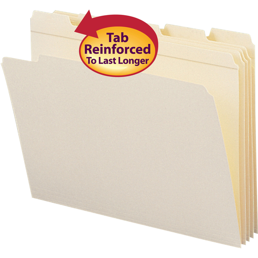Smead File Folder, Reinforced 1/5-Cut Tab, Letter Size, Manila, 100 Per Box (10356)