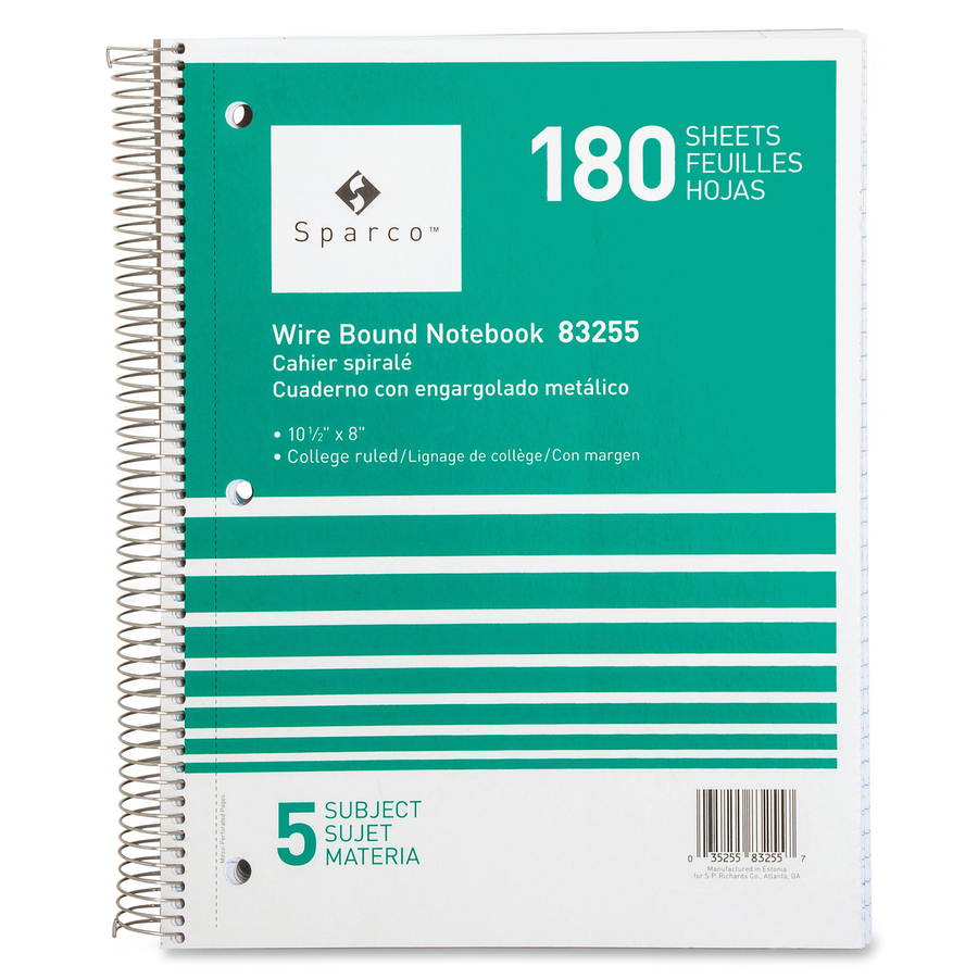 History sparco 180 sheets 5 subjects college ruled