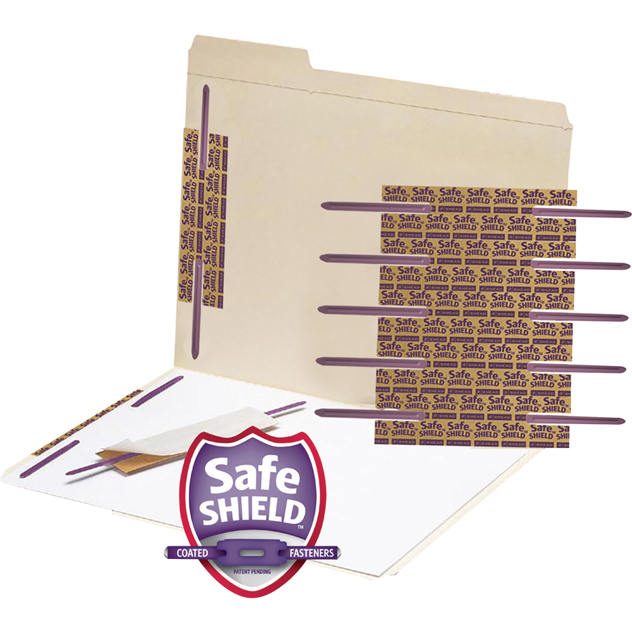 """Smead Self-Adhesive Fastener with SafeSHIELD? Coated Fastener Technology, 2"""" Capacity, Purple, 50 per Box (68216)"""
