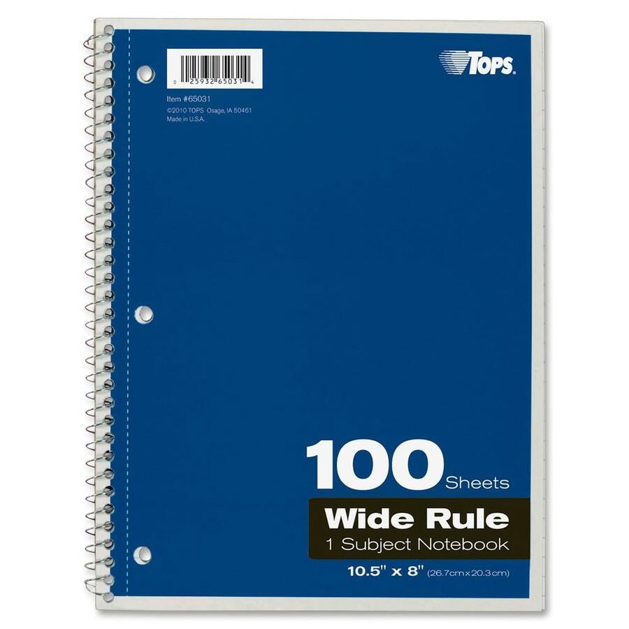 Rediform office products subject wirebound notebook wide - Tops Wide Rule 1 Subject Spiral Notebook Top65031 Alternate Image1
