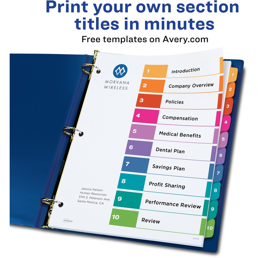 Avery Ready Index Customizable Table Of Contents Classic Multicolor