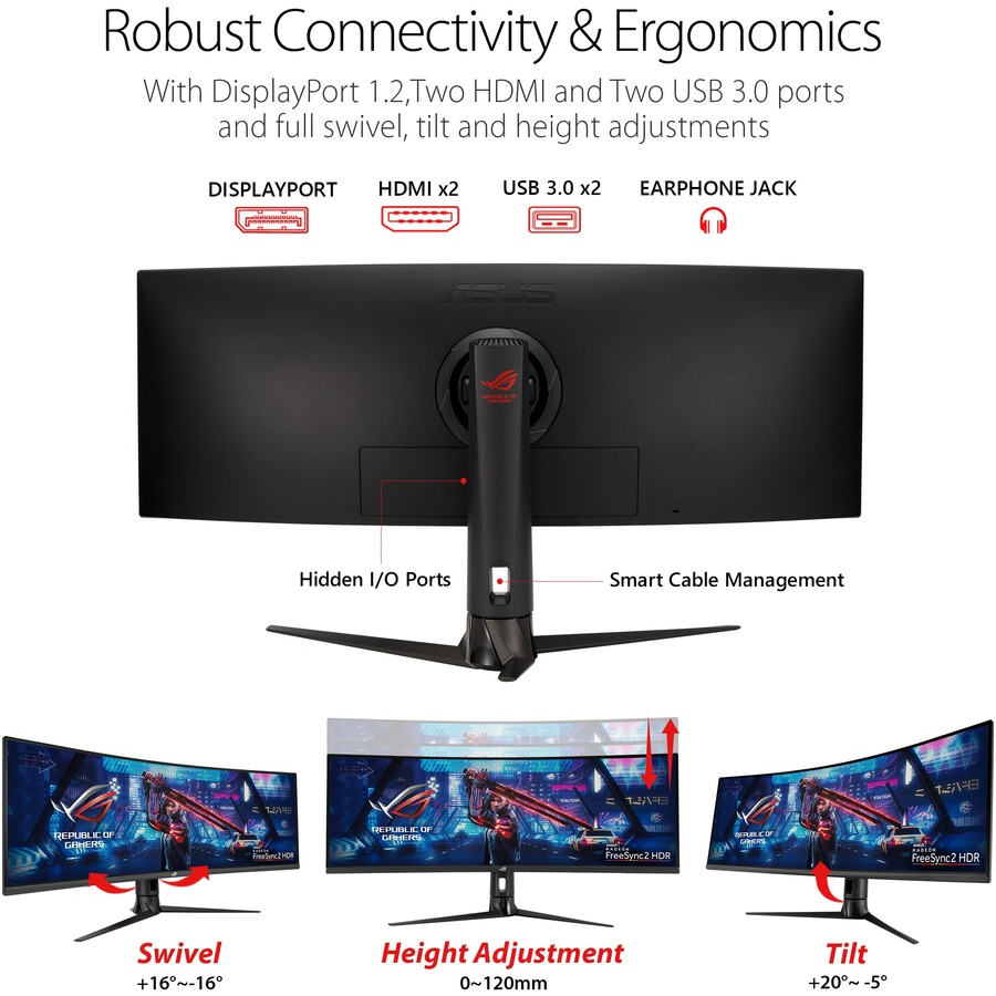 "Asus ROG Strix XG43VQ 43.4"" UHD Curved Screen WLED Gaming LCD Monitor - 32:10_subImage_17"