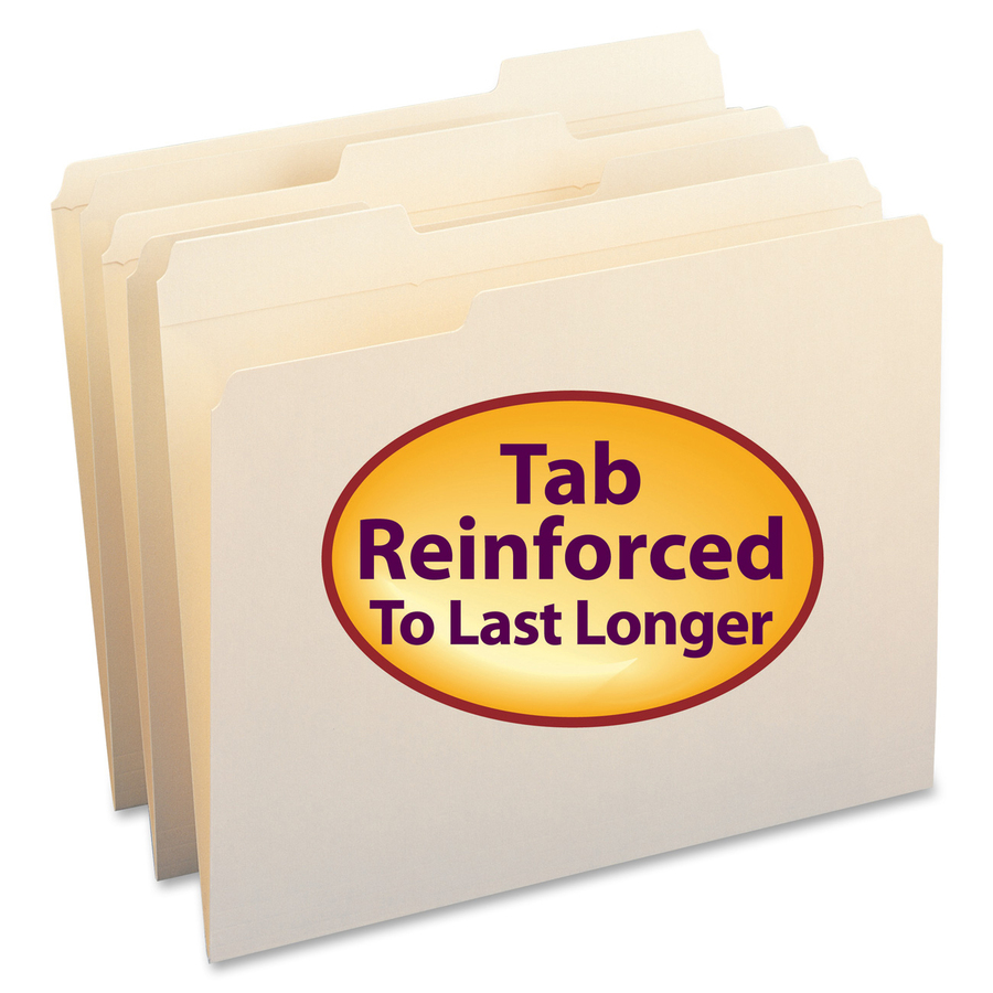 Smead WaterShed? File Folder, Reinforced 1/3-Cut Tab, Letter Size, Manila, 100 Per Box (10314)