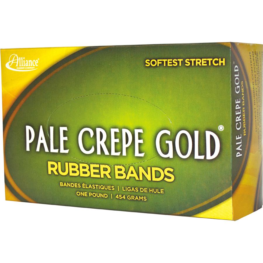 alliance rubber 20645 pale crepe gold rubber bands size 64 1 lb box servmart. Black Bedroom Furniture Sets. Home Design Ideas