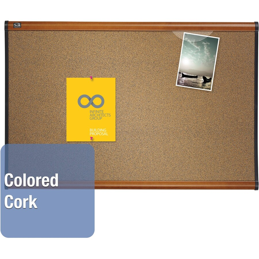 Quartet prestige colored cork bulletin board qrtb247lc for How to make a bulletin board without cork