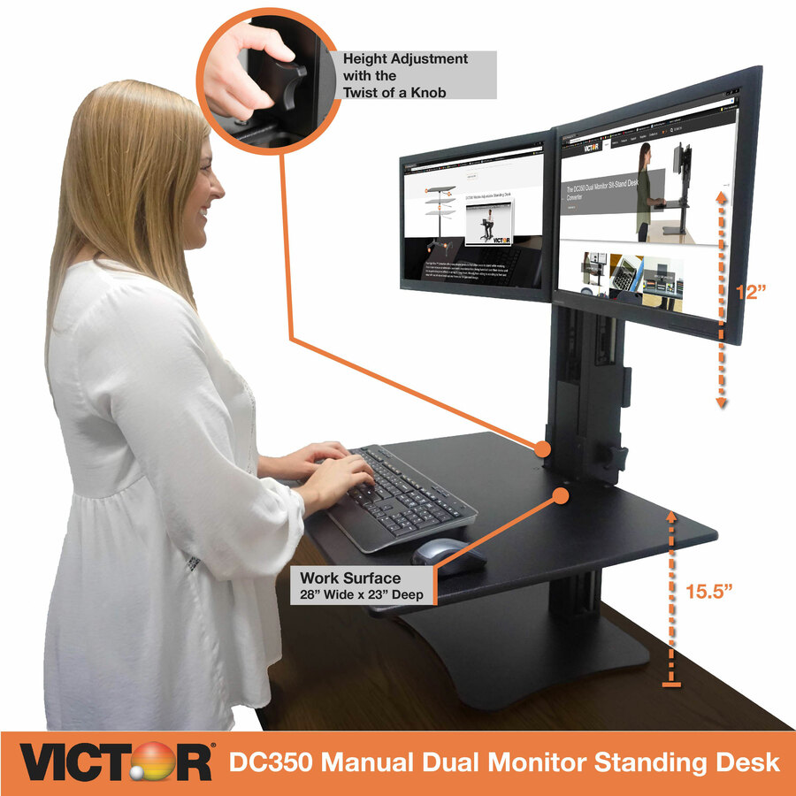 victor high rise manual dual monitor standing desk workstation servmart. Black Bedroom Furniture Sets. Home Design Ideas