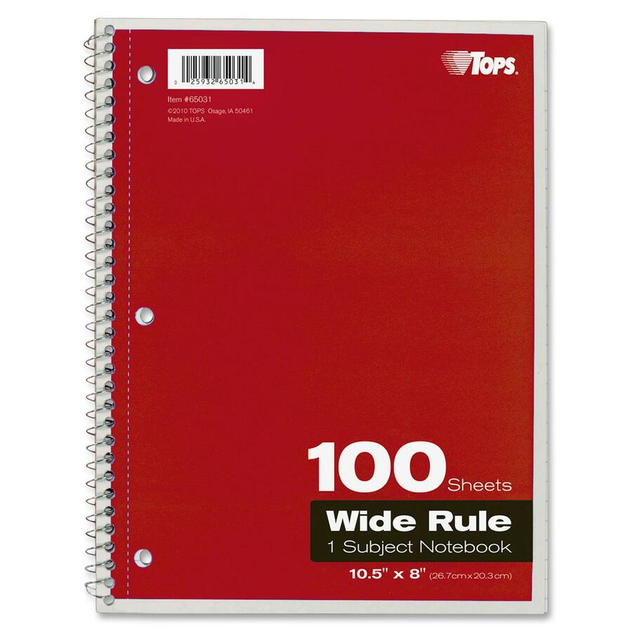 Rediform office products subject wirebound notebook wide - Tops Wide Rule 1 Subject Spiral Notebook Top65031 Alternate Image1 Front Alternate Image4