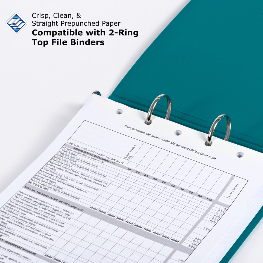PrintWorks Professional 5 Hole Top Pre Punched Paper For Fastener File Folders Binders Clipboards