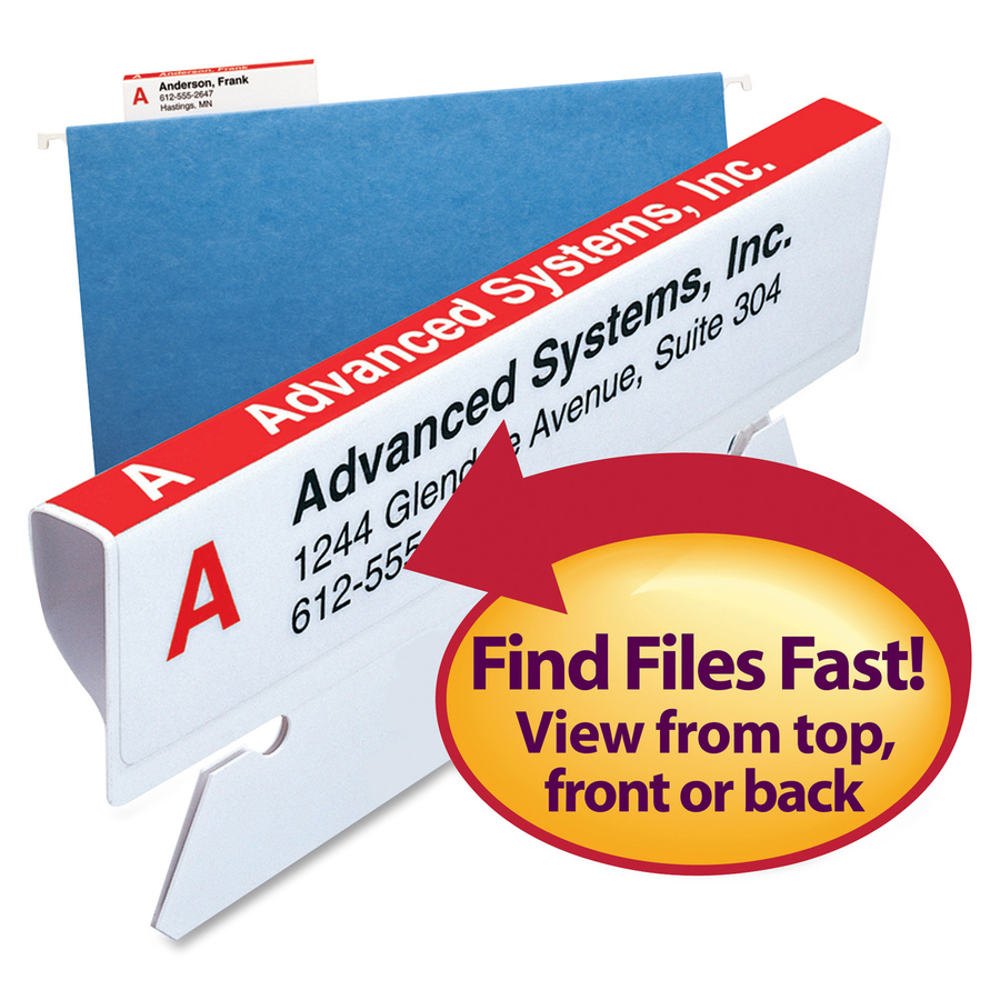 Smead? Viewables? Premium 3D Hanging Folder Tabs and Labels for Inkjet and Laser Printers, bulk pack of 100 (64910)