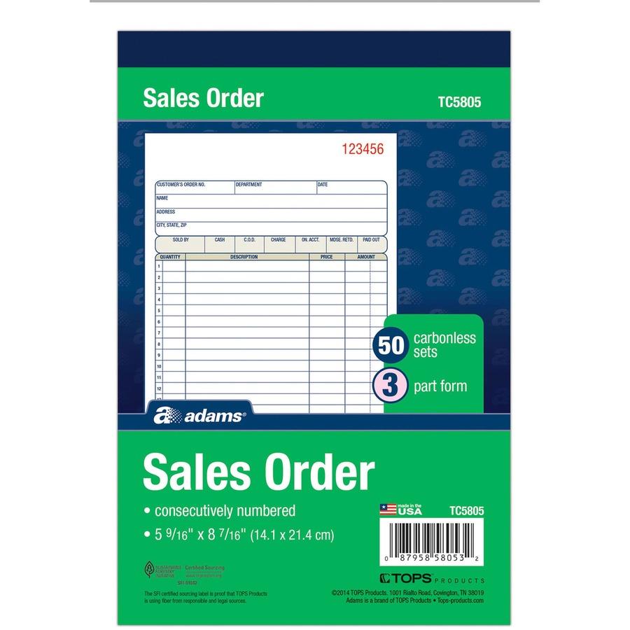 Adams Sales Book TC5805, Adams Carbonless Sales Order Books ...