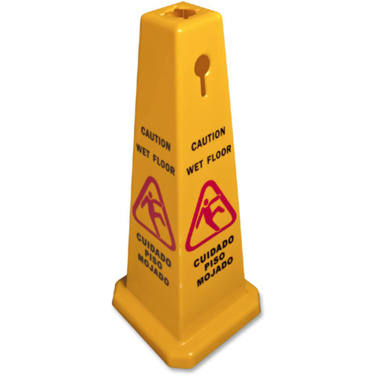 Genuine Joe Four Sided Safety Cone Caution Sign