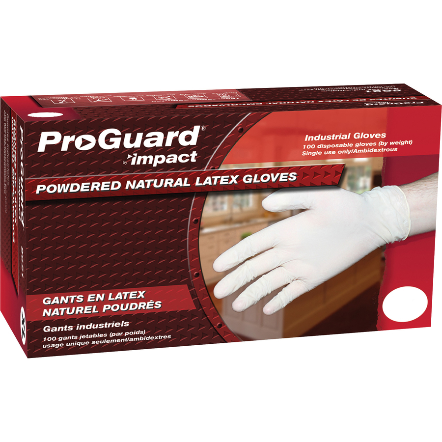 Impact Products ProGuard Disposable Latex Powdered Gloves Medium Size 100 - Box