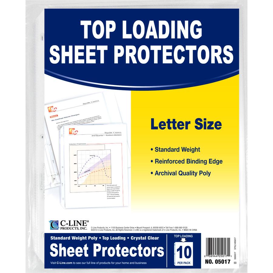 C line standard weight sheet protector ra office supplies colourmoves