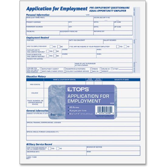 Tops Comprehensive Applications For Employment - Mac Papers Inc
