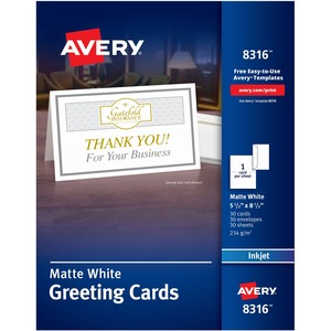 "Avery Half-Fold Greeting Card - 8.5"" x 5.5"" - Matte - 30 / Box - White"