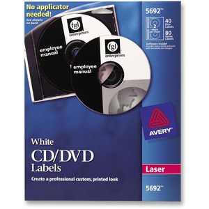 Avery Laser CD/DVD Label(s) - 4/Sheet - 40 / Pack - White
