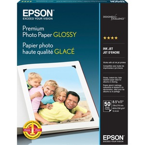 "Epson Premium Glossy Photo Paper - Letter - 8.5"" x 11"" - 252g/m² - High Gloss - 92 ISO Brightness - 50 / Pack - Bright White"