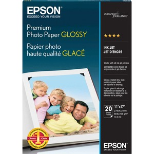 "Epson Premium Glossy Photo Paper - Ledger - 11"" x 17"" - 252g/m² - High Gloss - 92 GE/102 ISO (D65) Brightness - 1 Each - Bright White"
