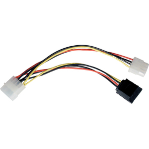 6IN SATA DUAL POWER ADAPTER/TAP 4PIN TO 1X15PIN 1X4PIN