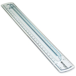 "Westcott Finger Grip Ruler - 12"" Length 1"" Width - 1/16 Graduations - Imperial, Metric Measuring System - Plastic - 1 Each - Smoke"