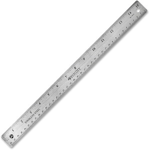 "Westcott Ruler - 15"" Length 1"" Width - 1/16, 1/32 Graduations - Metric, Imperial Measuring System - Stainless Steel - 1 Each - Silver"