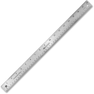 "Westcott Ruler - 18"" Length 1"" Width - 1/16, 1/32 Graduations - Metric, Imperial Measuring System - Stainless Steel - 1 Each - Silver"