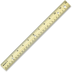 "Westcott Metal Edge Ruler - 12"" Length 1"" Width - 1/16 Graduations - Metric, Imperial Measuring System - Wood - 1 Each"