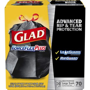 Glad ForceFlex Trash Bag - Trash Bag - 30 gal - 1.05mil Thickness - 70 / Pack - Black