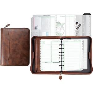 Day-Timer Leather Zip Closure Starter Set Organizer DTM80844