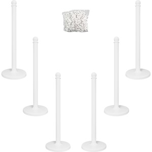 "TATCO Plastic Stanchion - 39"" High White Plastic Post - 14"" Diameter Base White Base"