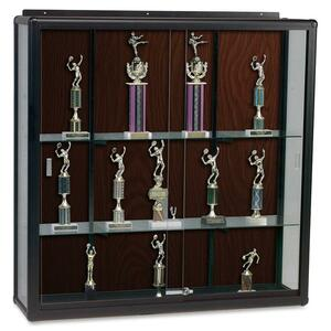 "Balt Wall Mount Display Case - 72"" x 16"" x 48"" - Glass - Walnut"
