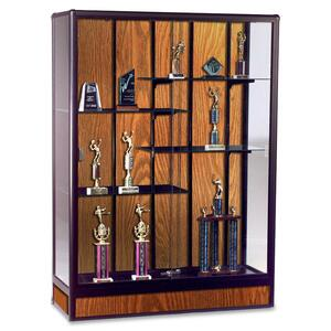 "Balt Elite Freestanding Display Case - 48"" x 18"" x 66"" - Glass, Aluminum - 5 x Shelf(ves) - Security Lock - Glass Door - Oak"
