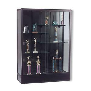 "Balt Elite Freestanding Display Case - 48"" x 18"" x 66"" - Glass, Aluminum - 5 x Shelf(ves) - Security Lock - Glass Door - Black"