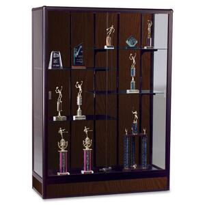 "Balt Elite Freestanding Display Case - 60"" x 18"" x 66"" - Glass, Aluminum - 5 x Shelf(ves) - Security Lock - Glass Door - Walnut"