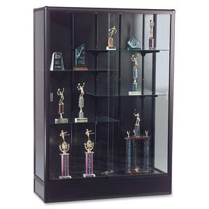 "Balt Elite Freestanding Display Case - 60"" x 18"" x 66"" - Glass, Aluminum - 5 x Shelf(ves) - Security Lock - Glass Door - Black"