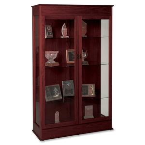 "Balt Traditional Wood Display Case - 48"" x 18"" x 77"" - Wood - 3 x Shelf(ves) - Glass Door - Mahogany"