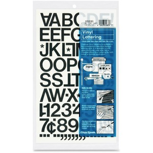 "Chartpak Vinyl Letters and Numbers - 12 Numbers, 76 Capital Letter - 1"" - Black"