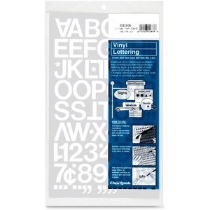 "Chartpak Vinyl Letters and Numbers - 12 Numbers, 76 Capital Letter - 1"" - White"