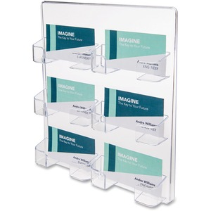 Deflect-o Wall Mount Business Card Holder - Acrylic - 1 Each - Clear