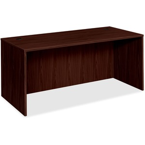 "Basyx BL Series Rectangular Top Desk Shell - 66"" Width x 30"" Depth x 29"" Height - Straight Edge - Wood - Mahogany Top, Mahogany Frame"
