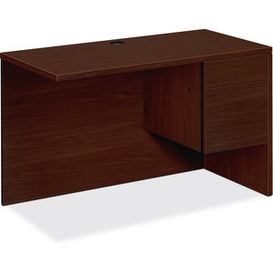"HON 10500 Series Right Return - 48"" Width x 24"" Depth x 29.5"" Height - 2 Drawer - Single Pedestal on Right Side - Square Edge - Wood - Mahogany Top, Mahogany Frame"
