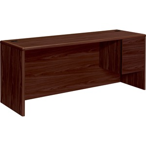 "HON 10700 Series Single Right Pedestal Credenza - 72"" Width x 24"" Depth x 29.5"" Height - 2 Drawer - Single Pedestal on Right Side - Waterfall Edge - Wood - Mahogany"