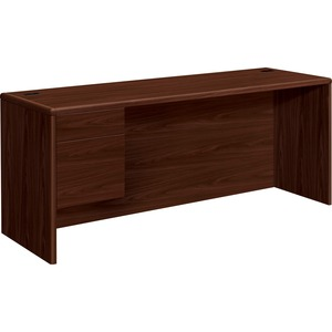 "HON 10700 Series Single Left Pedestal Credenza - 72"" Width x 24"" Depth x 29.5"" Height - 2 Drawer - Single Pedestal on Left Side - Waterfall Edge - Wood - Mahogany"