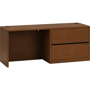 "HON 10700 Series Right Pedestal Credenza with Lateral File - 72"" Width x 24"" Depth x 29.5"" Height - Single Pedestal on Right Side - Waterfall Edge - Wood - Henna Cherry"