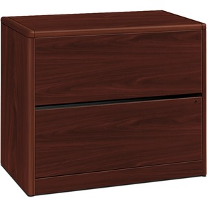 "HON 10700 Series Two Drawer Lateral File - 36"" Width x 20"" Depth x 29.62"" Height - 2 Drawer - Waterfall Edge - Wood - Mahogany"