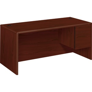 "HON 10700 Series Single Pedestal Desk - 66"" Width x 30"" Depth x 29.5"" Height - 2 Drawer - Single Pedestal on Right Side - Waterfall Edge - Wood - Mahogany"