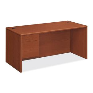 "HON 10700 Series Single Pedestal Desk - 66"" Width x 30"" Depth x 29.5"" Height - 2 Drawer - Single Pedestal on Left Side - Waterfall Edge - Wood - Henna Cherry"