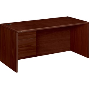 "HON 10700 Series Single Pedestal Desk - 66"" Width x 30"" Depth x 29.5"" Height - 2 Drawer - Single Pedestal on Left Side - Waterfall Edge - Wood - Mahogany"