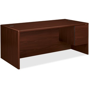 "HON 10700 Series Single Right Pedestal Desk - 72"" Width x 36"" Depth x 29.5"" Height - Single Pedestal on Right Side - Waterfall Edge - Wood - Mahogany"