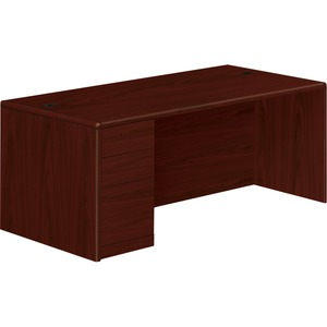 "HON 10700 Series Left Pedestal Desk - 72"" Width x 36"" Depth x 29.5"" Height - 3 Drawer - Single Pedestal on Left Side - Waterfall Edge - Wood - Mahogany"